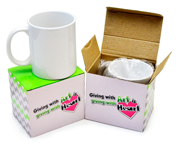 Each mug will be packed with clear plastic bag for extra protection and put into printed soft board box packaging that keeps your mug safe for delivery or storage.